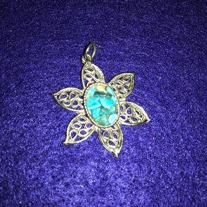 Vintage turquoise chip Silvertone pendant
